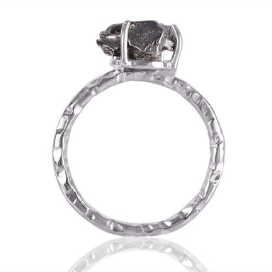 Rings Natural Meteorite Rough Stone Ring 925 Sterling Silver Solitaire