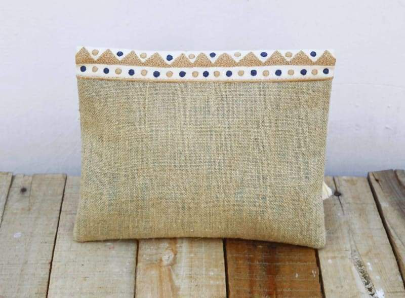 Natural Moroccan Boho Foldover Clutch in Pure Linen - Bags