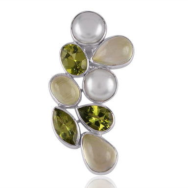 Pendants Natural Pearl Peridot And Prehnite Gemstone Sterling Silver Pendant