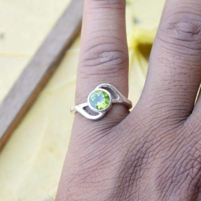 Rings Natural Peridot Gemstone Ring- Solid 925 Sterling Silver Ring,-August Birthstone Jewelry -Unique Designer All Ring Size