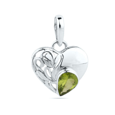 Natural Peridot Pendant Sterling Solid Silver Pendant,Green Heart Necklace