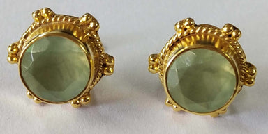 Earrings Natural Prehnite Round Stud Sterling Silver 18crt Gold Plated - by TJ GEMS