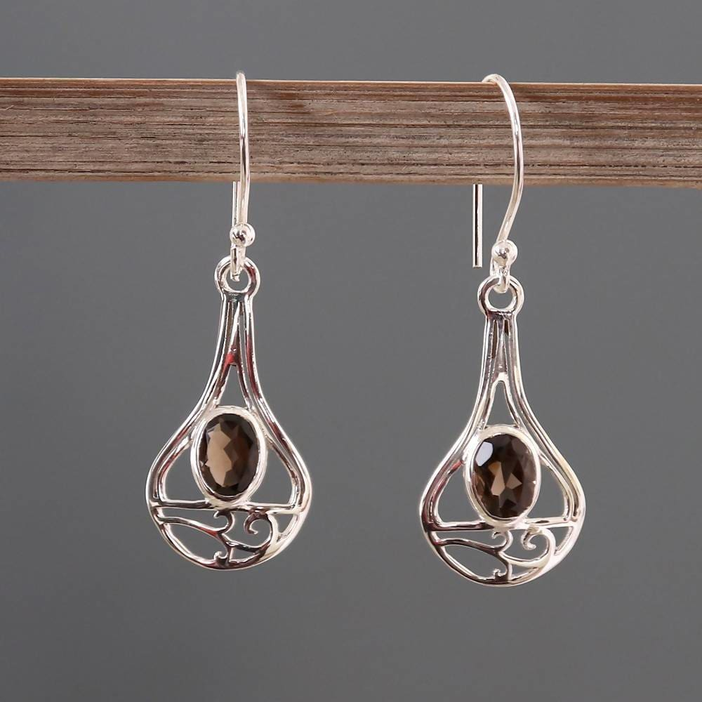 Earrings Natural Quartz Solid Silver Dangler Earring Real Smoky 925 Sterling
