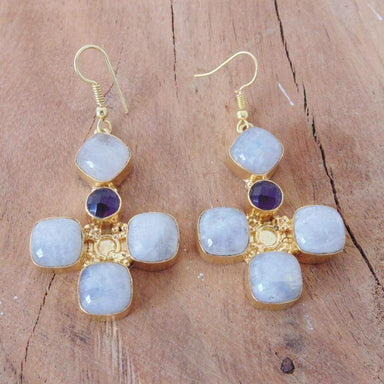 Natural Rainbow Moonstone And Amethyst Gemstone Bridal Party Dangle Earrings