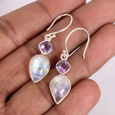 Earrings Natural Rainbow Moonstone Earring 925 Sterling Silver Amethyst Earring,Dangle Gemstone Purple - by Rajtarang