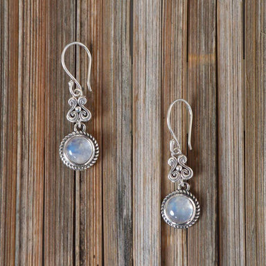 Earrings Best Price! Natural Rainbow Moonstone Gemstone Sterling Silver Dangle Earring.