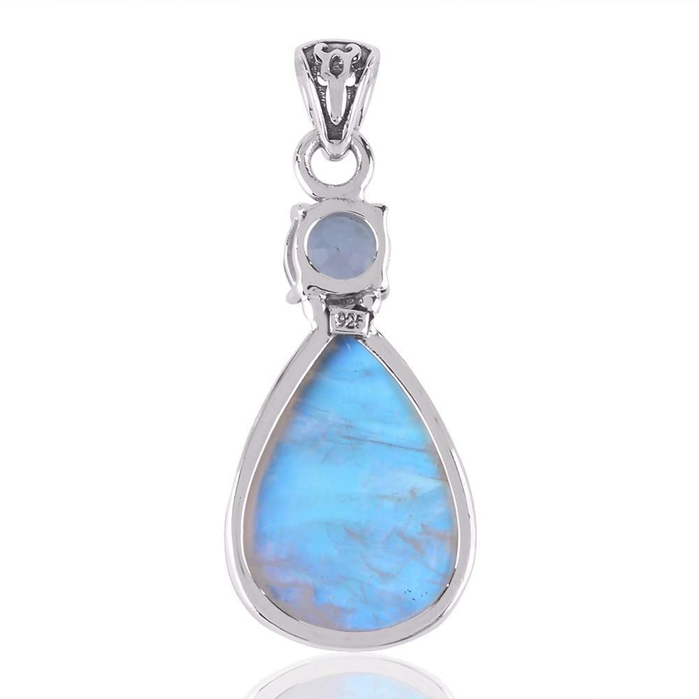 Necklaces Natural Rainbow Moonstone And Sky Blue Topaz Gemstone Sterling Silver Pendant