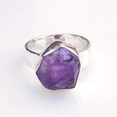 Rings Natural Raw Amethyst 925 Sterling silver Ring Birthstone