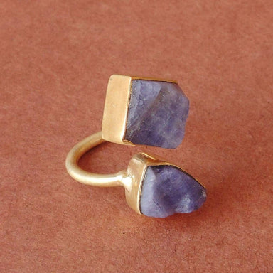Natural Raw Tanzanite Birthstone Gold Plated Bypass Stacking Ring - by Bhagat Jewels