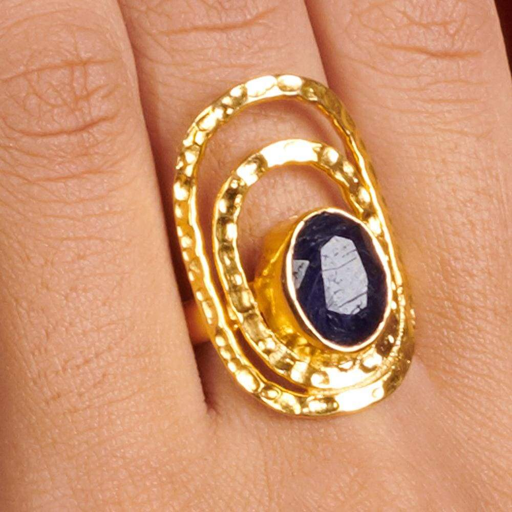 Rings Natural Raw Blue Sapphire 925 Sterling Silver 18K Yellow Gold Rose Filled Ring Handmade in India Gift Jewelry Gemstone - by Subham