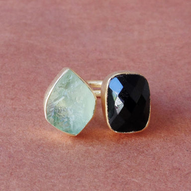 Natural Raw Fluorite And Black Onyx Gemstone Bezel Set Gold Plated Special Ring - by Bhagat Jewels