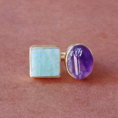 Natural Raw Mineral Amazonite And Amethyst Gemstone Gold Plated Unique Everyday Ring - by Bhagat Jewels