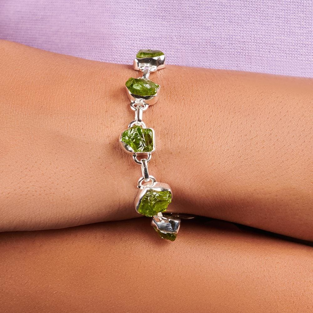 Bracelets Natural Raw Peridot 925 Sterling Silver Bracelet Fashion Handmade Jewelry Gift - by Adorable Craft