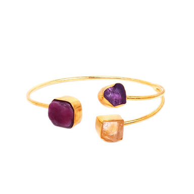 Natural Raw Ruby Amethyst And Citrine Triple Stone Designer Cuff Bracelet