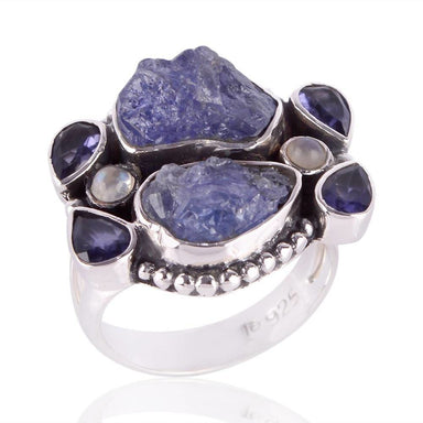 Rings Natural Raw Tanzanite Iolite Rainbow Moonstone Ring,Handmade 925 Sterling Silver Ring,Multi Stone Ring,Raw Ring,