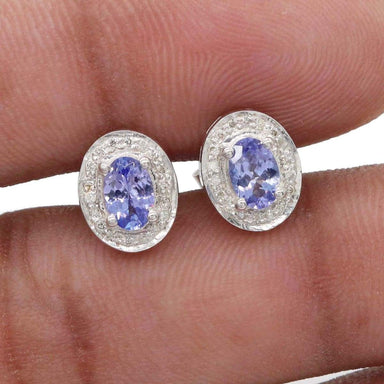 Natural & Real Diamond Tanzanite Handmade 925 Solid Sterling Silver Stud Earrings Wedding Jewellery For Christmas Gift - by Vidita Jewels