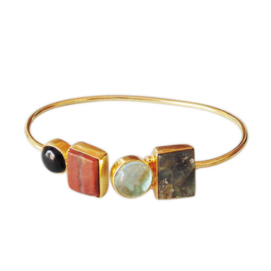 Natural Red Jasper Black Onyx Fluorite And Labradorite Gemstone Adjustable Bangle - by Bhagat Jewels