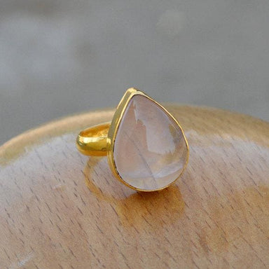 Rings Natural Rose Quartz Sterling Silver Yellow Gold Finished Gift Ring Birthstone