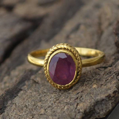 Rings Natural Ruby Gemstone Ring 14K Yellow Gold July Birthstone