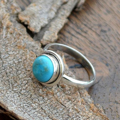 Rings Natural Sleeping Beauty Arizona Turquoise Gemstone 925 Sterling Silver Birthstone Gift Ring