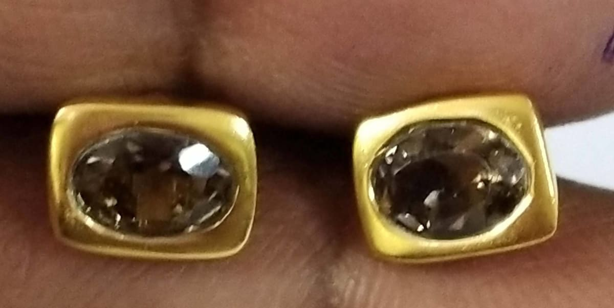 Earrings Natural Smoky Topaz oval Stud Sterling Silver 18crt Gold Plated - by TJ GEMS