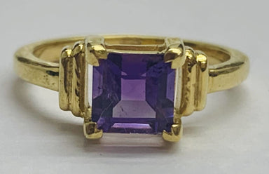 Rings Natural Square Brazil Amethyst 925 Sterling Silver Ring 18K Gold Plated - by TJ GEMS