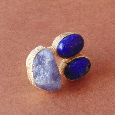 Natural Tanzanite And Lapis Lazuli Bezel Set Gemstone Mid Finger Cocktail Ring - by Bhagat Jewels