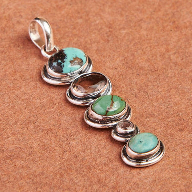 necklaces Natural Tibetan Turquoise and Green Amethyst Sterling Silver Pendant - by jaipur art jewels