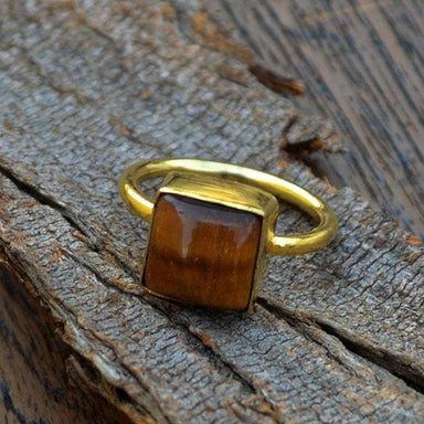 Rings Natural Tiger Eye Gemstone Gold Ring 14k Yellow Wedding
