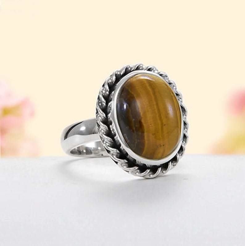 Ring Natural Tiger-Eye Semi Precious Stone Boho Silver Ring,Oval Cabochon Ring,925 Sterling Ring,Bride Ring,Anniversary Gift Item - by