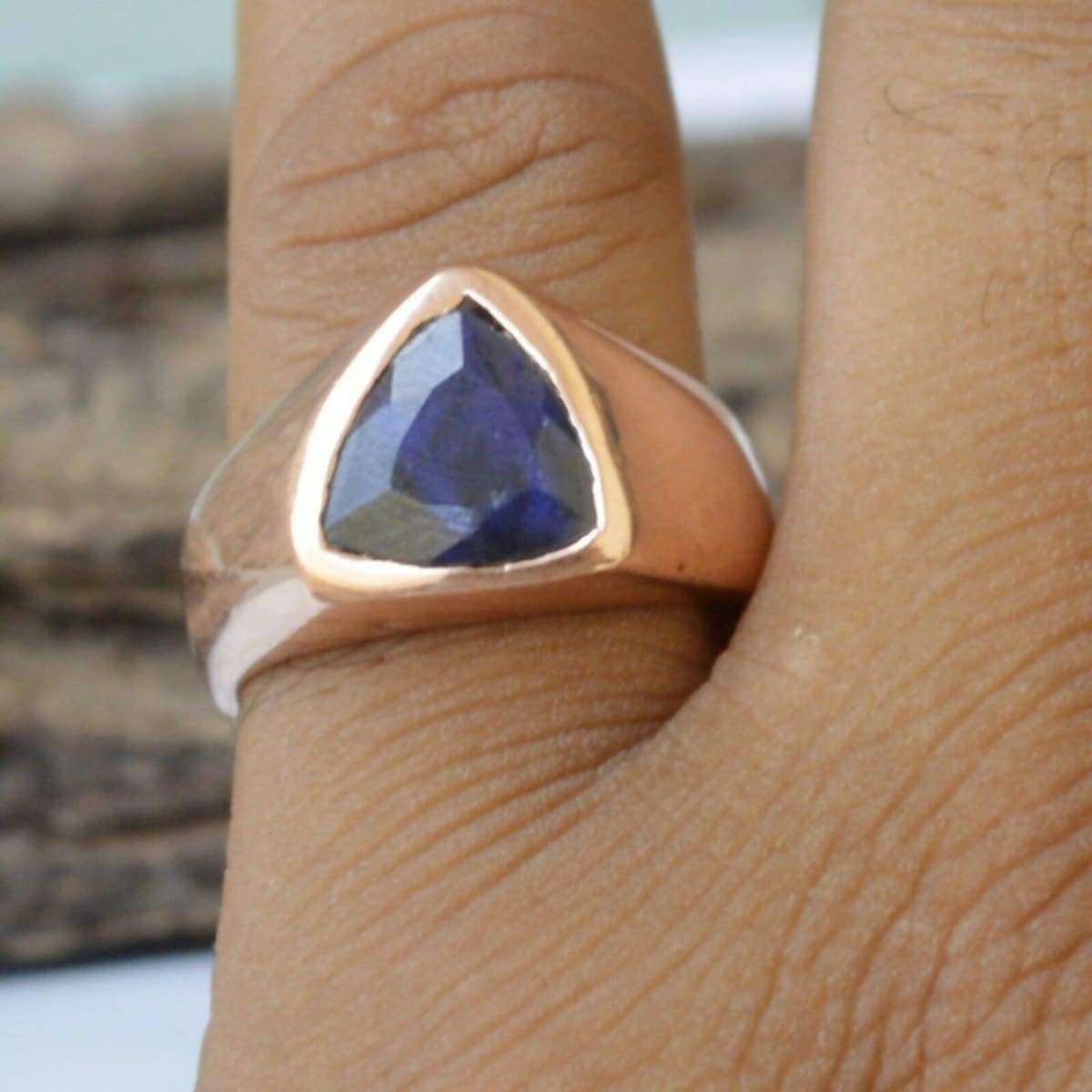 Rings Natural Trillion Blue Sapphire Gemstone Sterling Silver Rose Gold Filled Ring Jewelry Artisan Handmade Gift - Title by