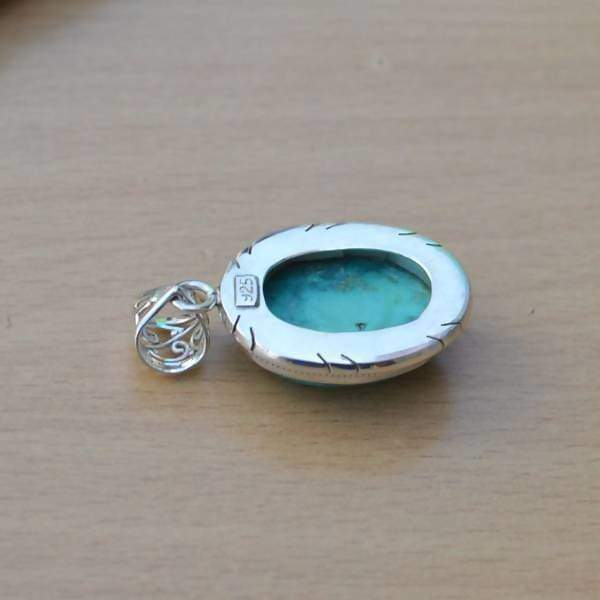 Necklaces Natural Turquoise Pendant Green Gemstone Set In Sterling Silver Jewelry Solitaire Designer
