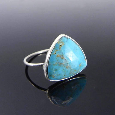 Rings Natural Turquoise trillion gemstone silver bezel ring - Blue Stone - Handmade Jewelry