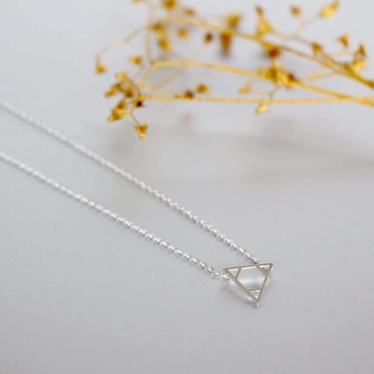 Necklaces Necklace Set Triangle Gold And Rhodium Charm Dipped Minimalist Delicate Gift (SN103/104)