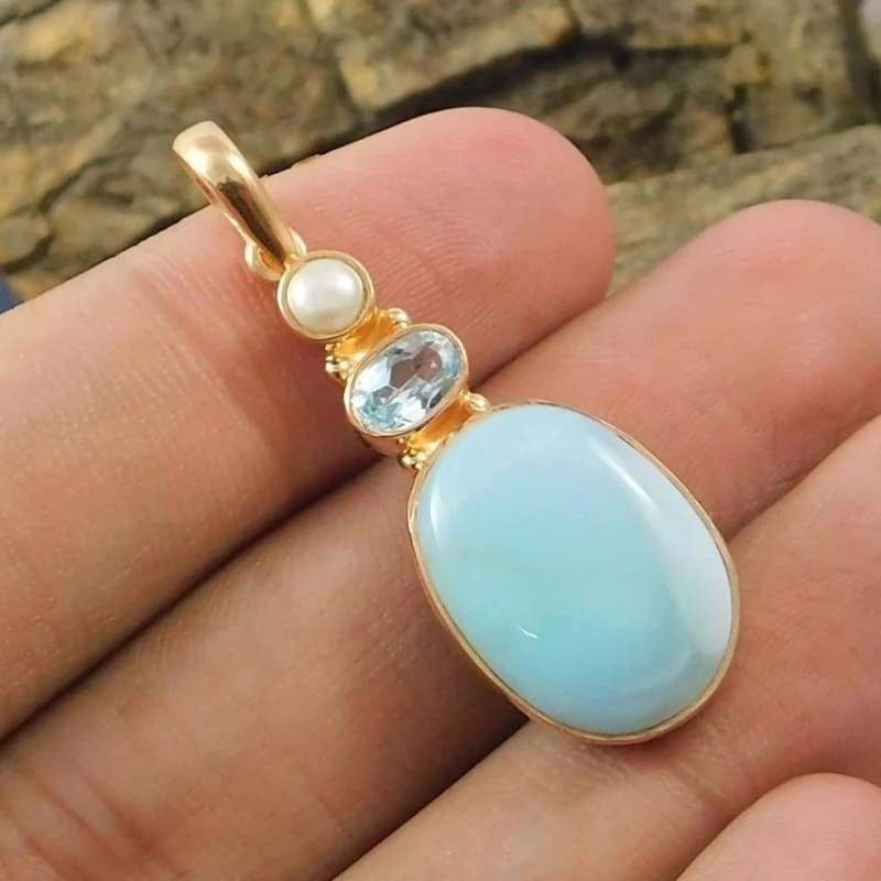 Larimar Blue Topaz Pearl and Rose Gemstone Gold Plated Pendant - Necklaces