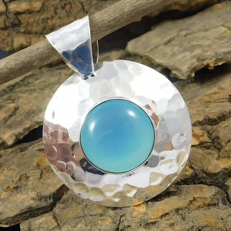 Pendant with Blue Chalcedony gemstone in Sterling Silver - Necklaces