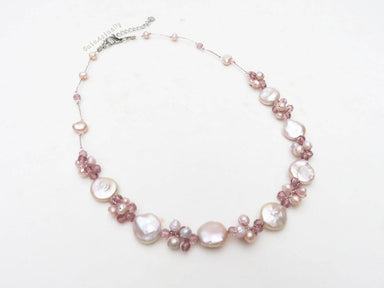 Necklaces Pink freshwater pearl necklace - light purple flat round (coin shape) on silk thread bridesmaid peach