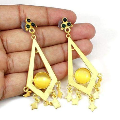 Newest Designer Collection Yellow Cet's Eye & Petrol Tourmaline Hydro Earrings Handmade Brass Long Hanging Dangling Wedding Engagement Gift