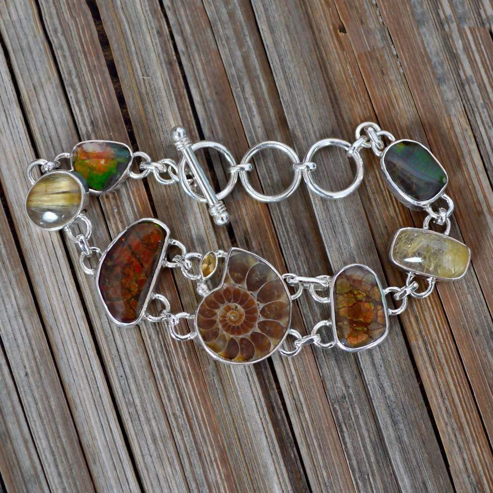 Bracelets Newest And Unique Design! Real Ammolite Ammonite Multi Gemstone Sterling Silver Birthstone Bracelet Jewelry