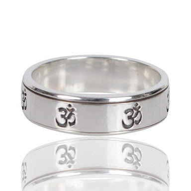 Om Sign 925 Sterling Silver Spinner Ring Meditation Spiritual Anxiety Promise Spinning - by Rajtarang