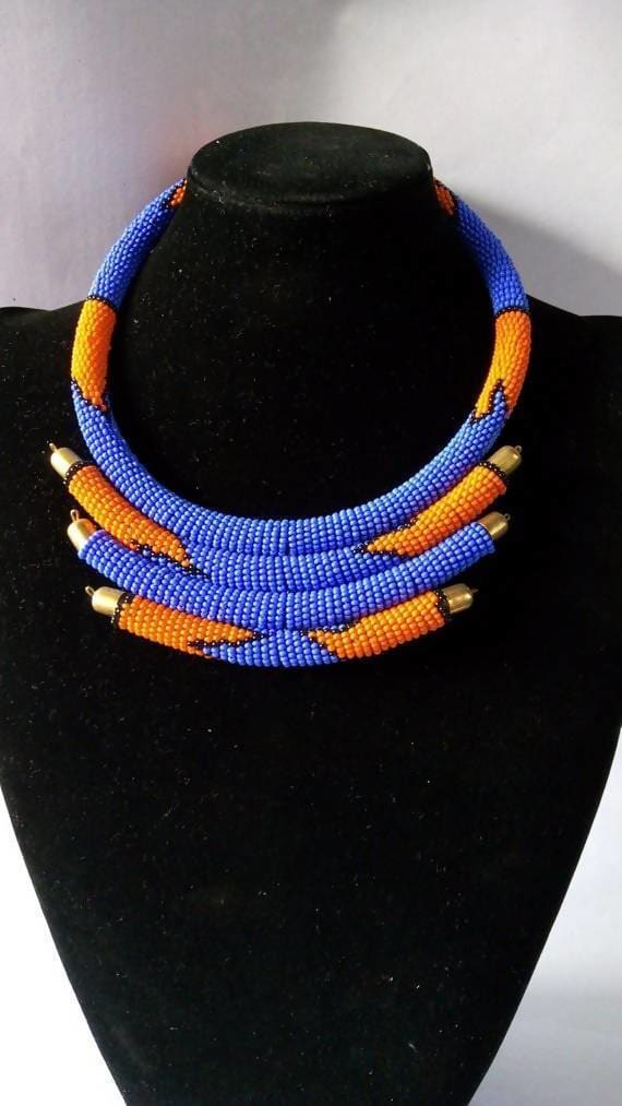 Necklaces One Of A Kind Blue and Orange Maasai Beaded Statement Necklace - by Naruki Crafts