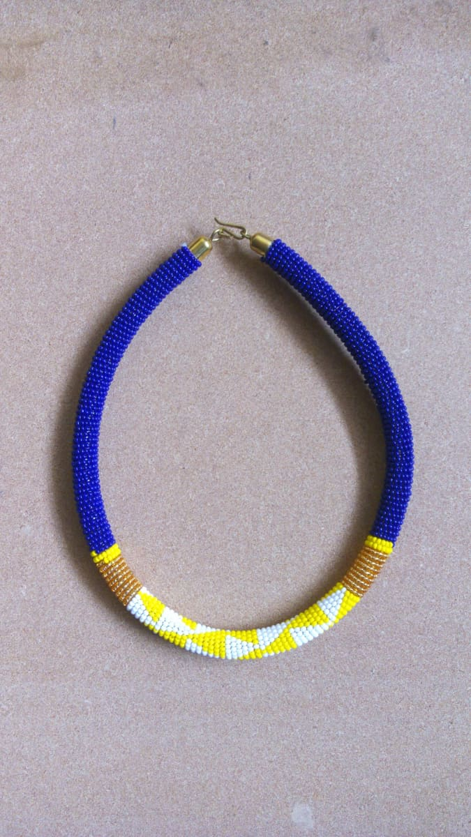 Necklaces One Of A Kind Blue and Yellow Maasai Beaded Necklace - by Naruki Crafts
