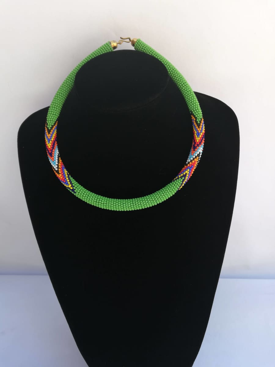 Necklaces One Of A Kind Handmade Maasai Necklace in Green Beads - by Naruki Crafts