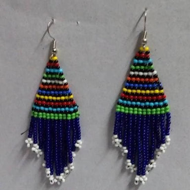 Earrings One Of A Kind Maasai Beaded Blue Dangle - by Naruki Crafts