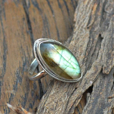 Rings OOak Marquise Labradorite Gemstone Ring 925 Sterling Silver