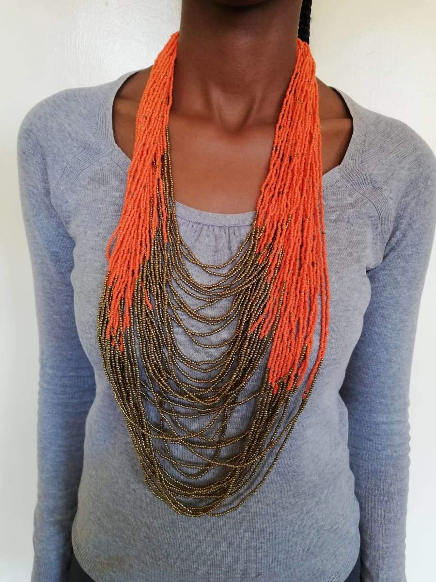Necklaces African beaded multi strand necklace jewelry for women Orange Handmade Christmas gift her - Title by Naruki Crafts