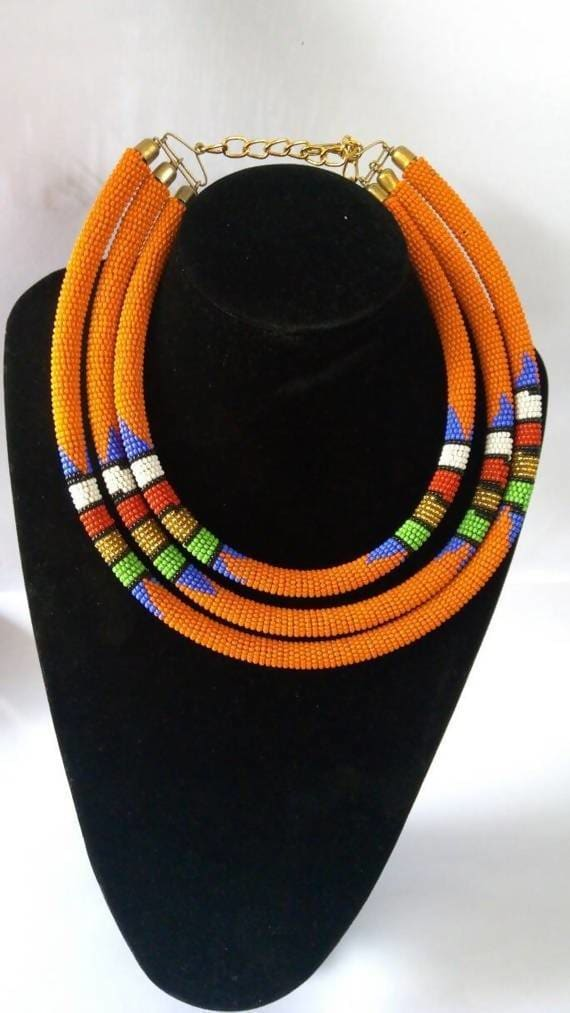 Necklaces Orange Maasai Layered Necklace in Beads - by Naruki Crafts
