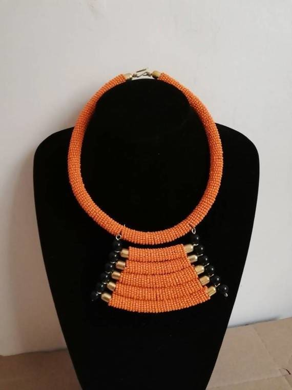 Necklaces Orange necklace Masai Beaded Boho Necklace African Mothers gift Statement Gift for her - Title by Naruki Crafts