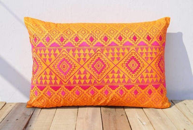 Orange & Pink KIlim Pattern Embroidered Pillow - Pillows & Cushions