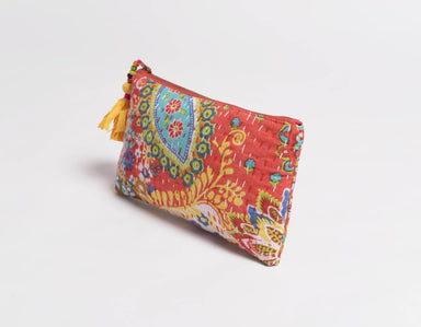 Pouches Orange pouch zipper purse make up or cosmetic bag utility kantha 5X9 inches - by VLiving